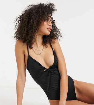 Asos Tall ASOS DESIGN tall recycled ruched tie swimsuit in black