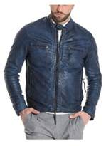 Altea Men's Blue Leather Outerwear Jacket.