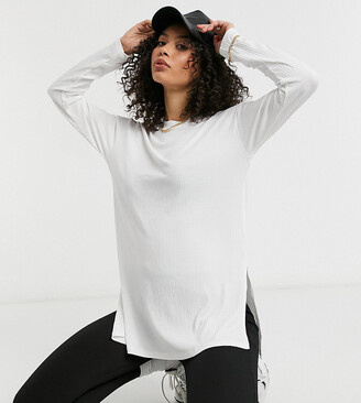 Asos Tall ASOS DESIGN Tall top with side splits and long sleeve in clean rib in white