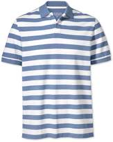 Sky Blue and White Stripe Pique Cotton Polo Size Large by Charles Tyrwhitt
