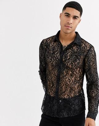 Aray black lace semi sheer slim fit shirt