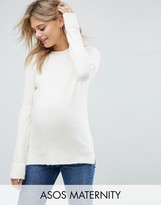Asos Chunky Sweater With Deep Cuff In Fluffy Yarn