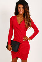 Pink Boutique Shevaun Red Wrap Ruched Mini Dress
