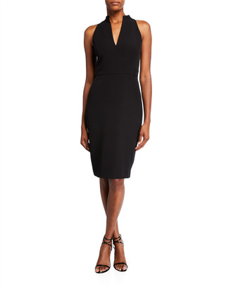 Badgley Mischka Halter Crepe Sheath Dress