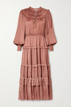 Ulla Johnson Serena Ruffled Tiered Satin Midi Dress - Antique rose