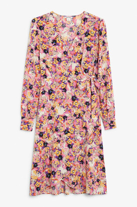 Monki Silky V-neck wrap dress