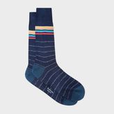 Paul Smith Men's Navy Socks With Silver Stripes