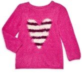 Hatley Little Girl's & Girl's Striped Heart Fluffy Sweater