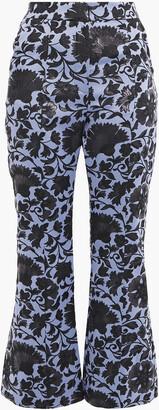Erdem Eda Metallic Floral-jacquard Kick-flare Pants