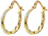Evoke 9ct Gold Plated Silver Crystal Creole Earrings