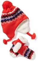 Old Navy Patterned Trapper Hat & Mittens Set for Toddler