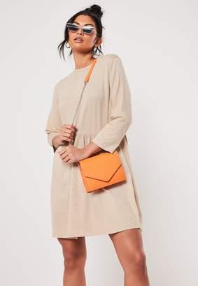 Missguided Camel Jersey Half Sleeve Oversized Smock Dress