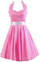 Ensnovo Womens Retro 1950s Vintage Halter Polka Dot Pinup Swing Dress L