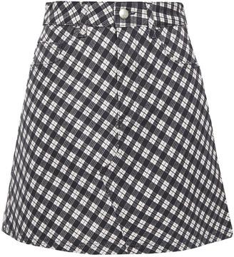 ALEXACHUNG Checked Cotton-blend Twill Mini Skirt