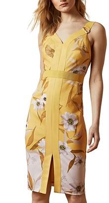 Ted Baker Peppinn Cabana Panel Bodycon Dress (Yellow) Women's Dress