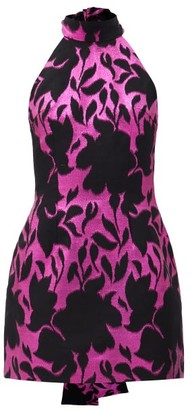 Elzinga - Floral-jacquard Halterneck Glitter Mini Dress - Black Pink