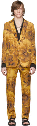 Dries Van Noten Yellow Wool Floral Suit