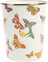 Mackenzie Childs MacKenzie-Childs - Butterfly Garden Enamel Waste Bin - White