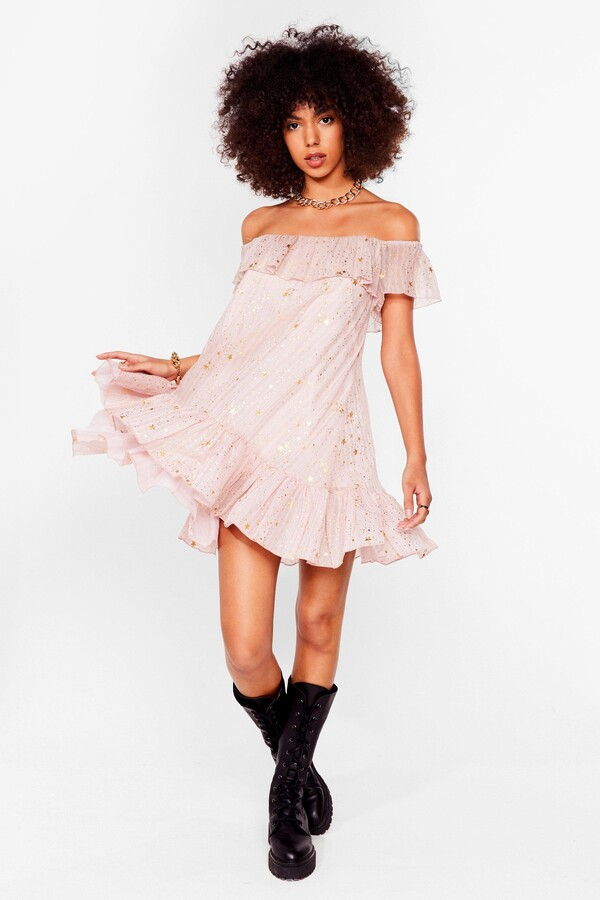 Thumbnail for your product : Nasty Gal Womens Star Off the Shoulder Mini Smock Dress