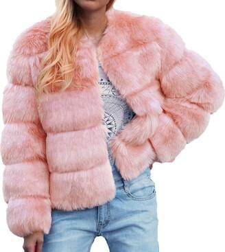 Jiegorge Woman Coat Womens Ladies Warm Faux-Fur Coat Jacket Solid Thick Winter Gradient Outerwear