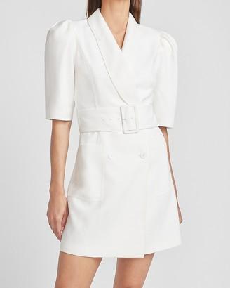 Express Ladygang Belted Puff Sleeve Blazer Dress