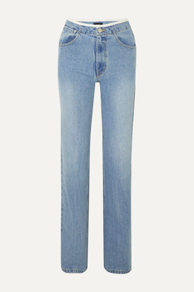 we11done Faux Leather-trimmed Mid-rise Straight-leg Jeans - Light denim