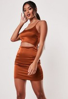 Missguided Rust Stretch Satin Cut Out Bodycon Mini Dress