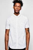 Boohoo Short Sleeve Polka Dot Print Shirt white