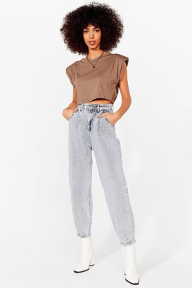 Nasty Gal Womens Big Easy Tapered Jeans - Washed Blue