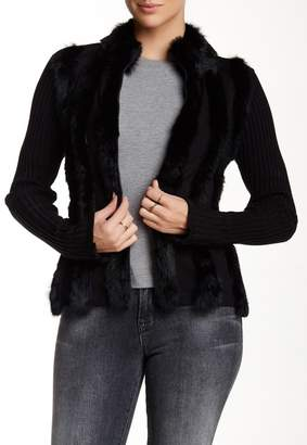 DOLCE CABO Genuine Rabbit Fur Trim Zip-Up Cardigan