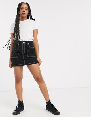 Dr. Denim contrast stitch detail mini skirt-Black
