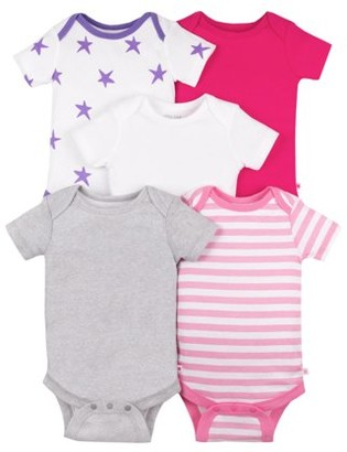 Little Star Organic Baby Girls Short Sleeve Pure Organic True Brights Bodysuits, 5-Pack