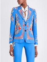 Roberto Cavalli Floral-print twill blazer