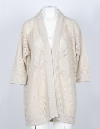 Lamberto Losani Beige Cashmere Women's Kimono Sweater