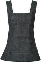 Derek Lam flared denim tank - women - Cotton/Spandex/Elastane - 36