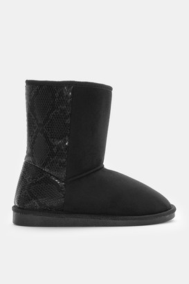 Ardene Faux Suede Boots with Snakeskin - Shoes |