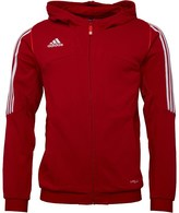 adidas Mens 3 Stripe Team ClimaLite Poly Hooded Jacket University Red/White
