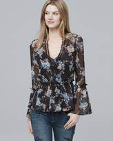White House Black Market Floral Print Flared Top