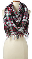 Lands' End Women's Plaid Square Scarf with Fringe-Classic Navy