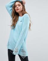 Boohoo Distressed Slashed Neck Sweater