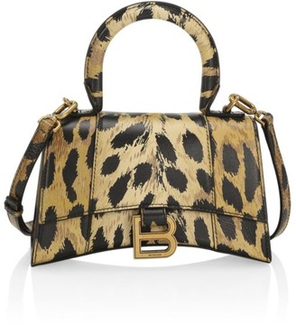 Balenciaga Extra-Small Hourglass Leopard-Print Leather Top Handle Bag