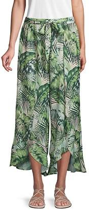 Ava & Aiden Leaf-Print Tulip-Hem Pants