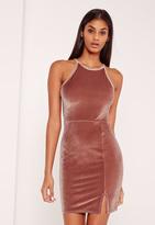 Missguided 90's Neck Split Hem Velvet Bodycon Dress Pink