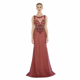 No Branded Women's Evening Dress Scoop Neck Sleeveless Elegant Evening Dress Floor Long Mermaid Ball Gown Bead Piece and Embroidery Thread Bridesmaid Dresses Maroon