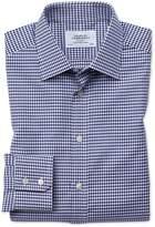 Classic Fit Large Puppytooth Blue Cotton Formal Shirt Single Cuff Size 15.5/33 by Charles Tyrwhitt