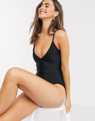 New Look wrap swimsuit in black