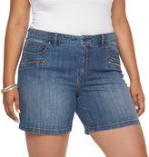 JLO by Jennifer Lopez Plus Size Jennifer Zipper Pocket Jean Shorts