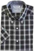 Nautica Classic Fit Wrinkle Resistant Seedpearl Plaid Short Sleeve Shirt