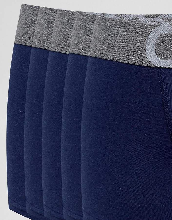 Asos Trunks In Navy With Branded Waistband 5 Pack Save
