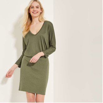 Joe Fresh Women's Blouson Dress, Dark Olive (Size L)